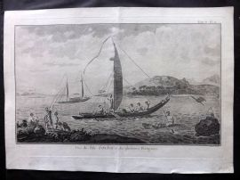 Cook's Voyages 1785 Antique Print. Boats at Tahiti, Pacific
